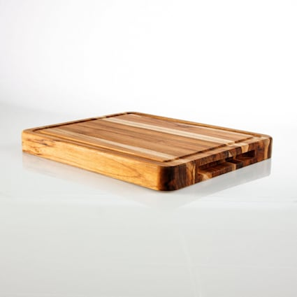 "1-3/8"" x 11-1/4"" x 13-3/4"" Unfinished Teak Cutting Board"