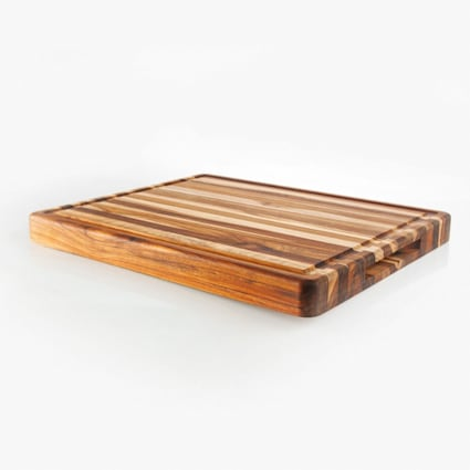 "1-3/8"" x 15"" x 17-3/4"" Unfinished Teak Cutting Board"