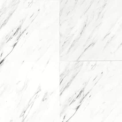 3mm White Marble Waterproof Vinyl Plank Comm Flooring 12 in. Wide x 24 in. Long