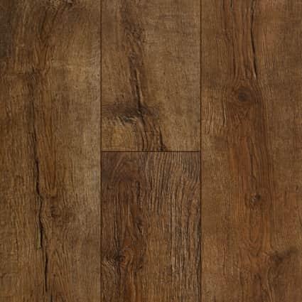 12mm+Pad Copper Ridge Chestnut 24Hr Water-Resistant Laminate Flooring 7.48 in. wide x 50.67 in. Long