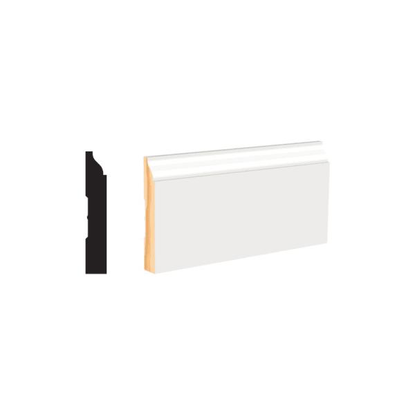 """9/16"""" x 3-1/4"""" x 8' PFJ Primed Colonial Baseboard   White Primed"""