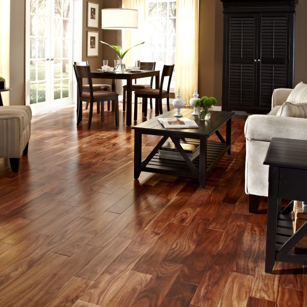 Acacia Quick Click Engineered Hardwood Flooring in Living Room