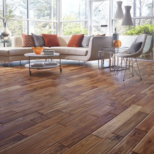 9/16 in. x 5 in. Tobacco Road Acacia Distressed Engineered Hardwood Flooring; 7/16 in. x 4.75 in. Tobacco Road Acacia Easy Click Engineered Hardwood Flooring