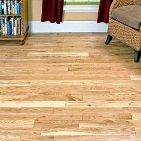 .75 in. x 2 .25 in. White Oak Unfinished Solid Hardwood Flooring in Living Room
