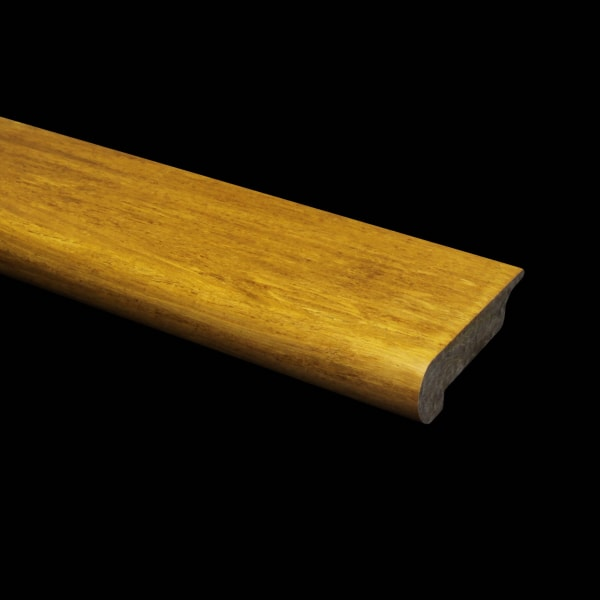Prefinished Strand Carbonized Bamboo 3/8 in thick x 3.25 in wide x 6 ft Length Overlap Stair Nose