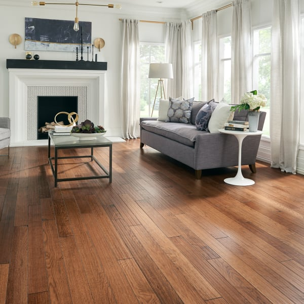 .75 in. x 4 in. Summer Harvest Hickory Solid Hardwood Flooring in rustic living room