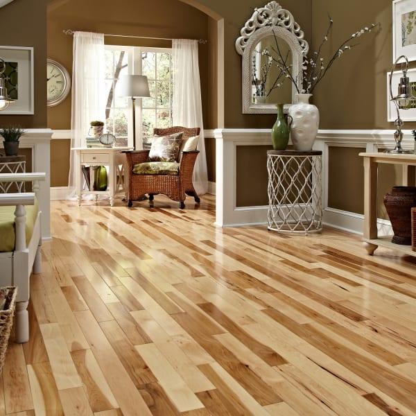 Millrun Hickory Solid Hardwood Flooring in Living Room