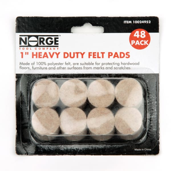 """1"""" Heavy Duty Felt Pads 48-Pack for Floor Protection"""