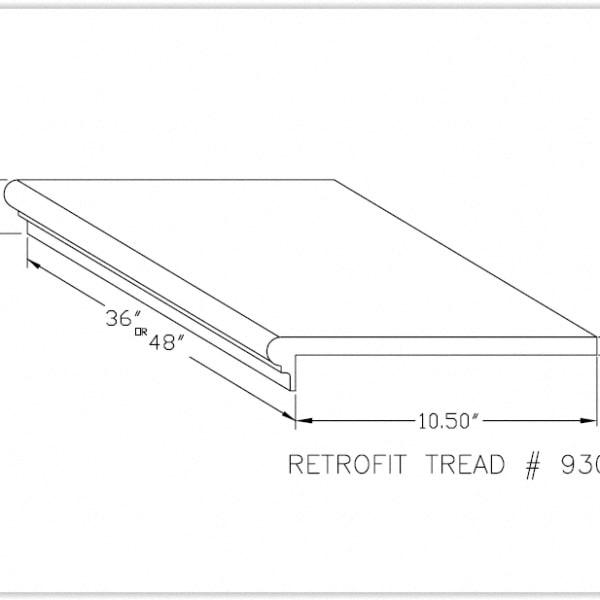Prefinished Classic Gunstock Oak 5/8 in thick x 11.5 in wide x 48 in Length Retro Fit Tread