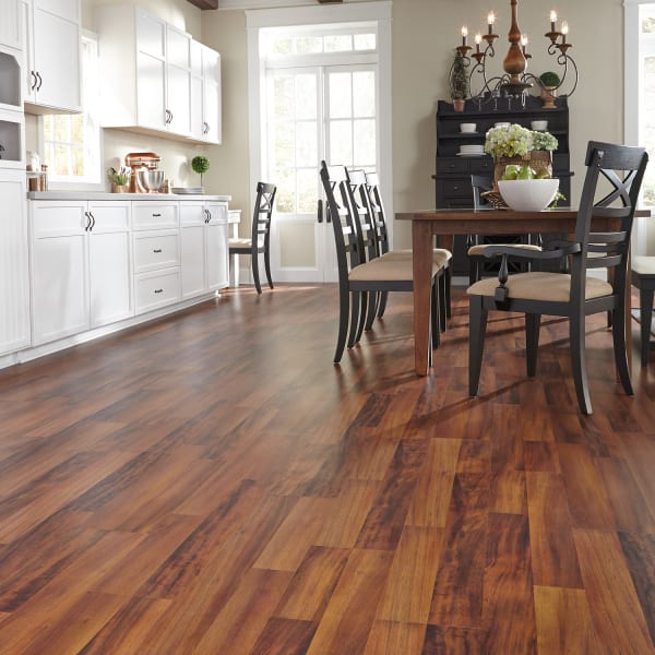 Bronzed Brazilian Acacia Laminate Flooring in Kitchen and Dining Room