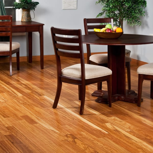 .75 in. x 3 .25 in. Tamboril Solid Hardwood Flooring in a Traditional Dining Room