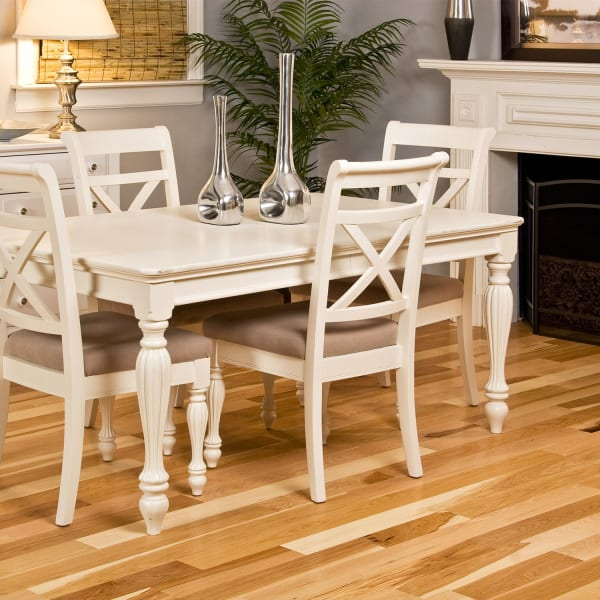 .75 in. x 4 in. Natural Hickory Solid Hardwood Flooring in Traditional Dining Room