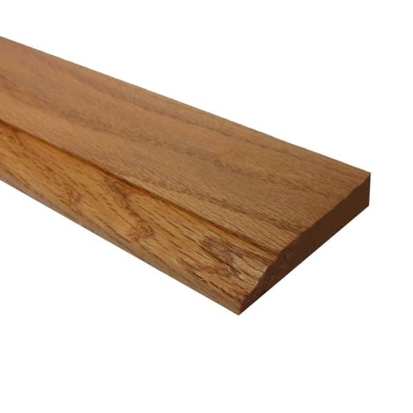 Prefinished Red Oak Hardwood 1/2 in thick x 3.25 in wide x 8 ft Length Baseboard