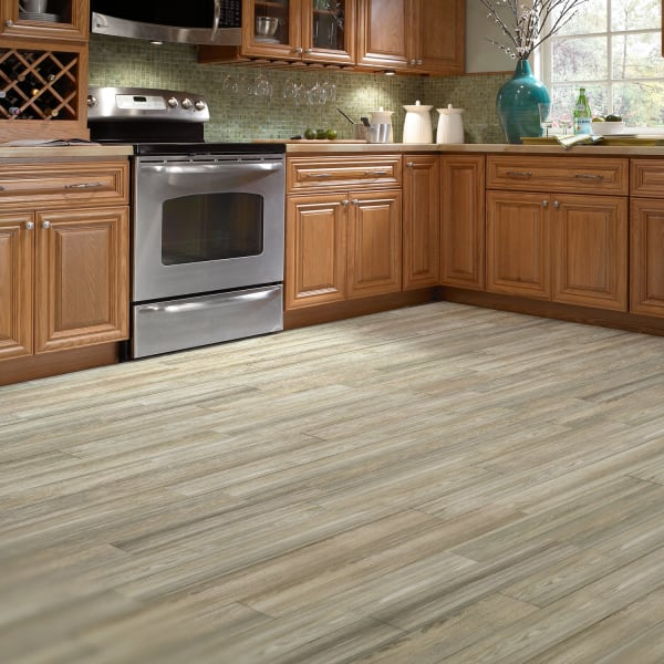 Cottage Wood Ash Porcelain Tile in Kitchen
