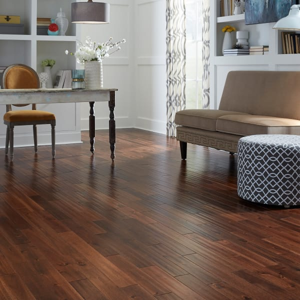 Hazelnut Acacia Solid Hardwood Flooring in Living Room and Office