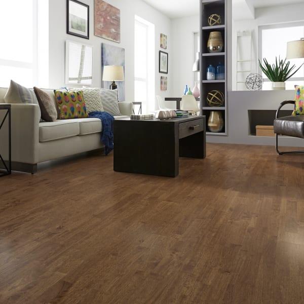 .75in x 6in Copper Hevea Solid Hardwood in Rustic Living Room