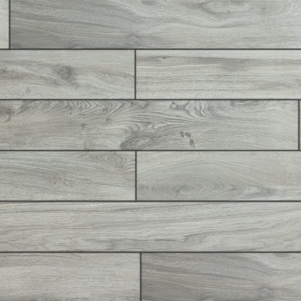 36in x 6in Oceanside Oak Gray HD Porcelain Tile large swatch