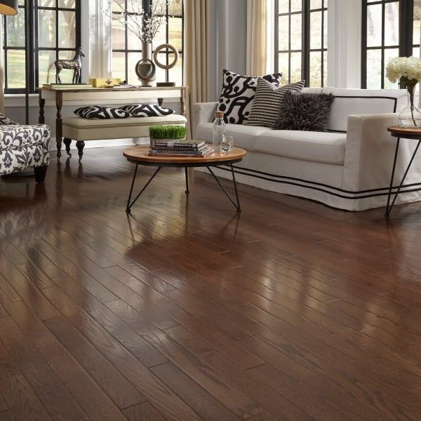 Mocha Oak Solid Hardwood Flooring in Living Room