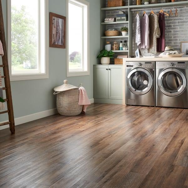 Malted Oak Luxury Vinyl Plank Flooring in Mudroom and Living Room