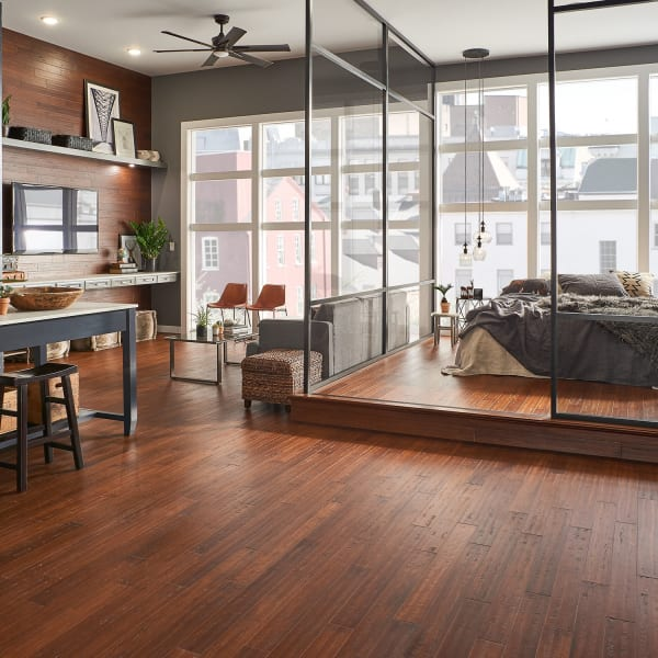 Roasted Almond Strand Distressed Click Engineered Bamboo Flooring in Bedroom, Living Room, and Kitchen