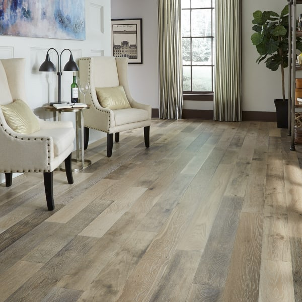 Vintage French Oak Wire Brushed Engineered Hardwood Flooring in Living Room and Kitchen
