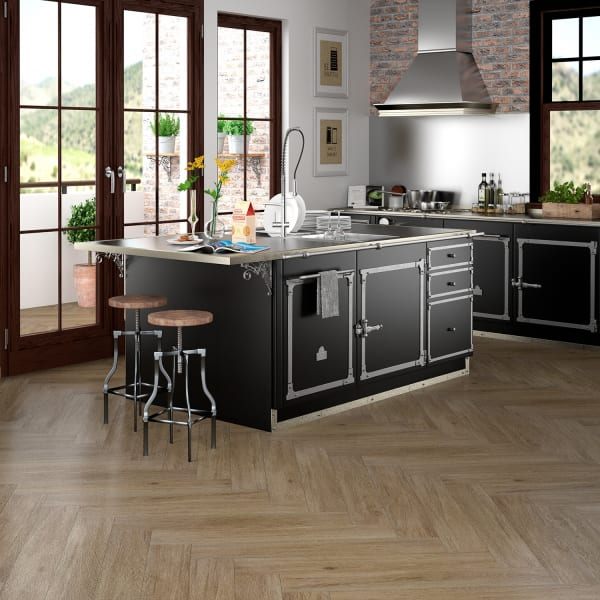 Herringbone 36in x 6in Summer Wheat Oak Porcelain Tile in Rustic Modern Kitchen