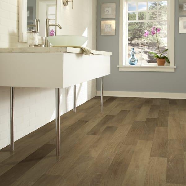 Desert Birch Luxury Vinyl Plank Flooring in Bathroom and Entryway