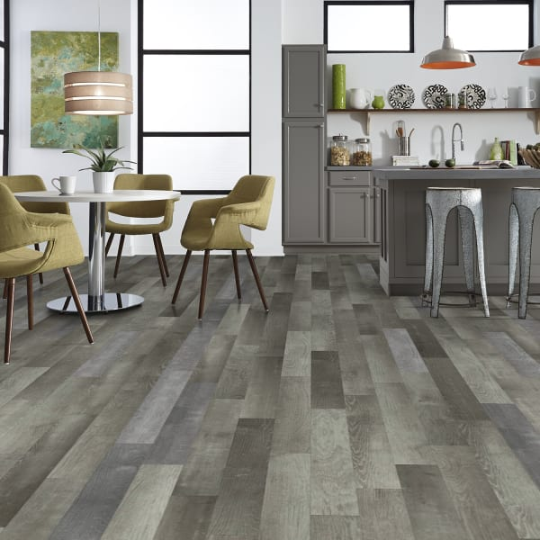 Monument Ash Luxury Vinyl Plank Flooring in Kitchen and Dining Room