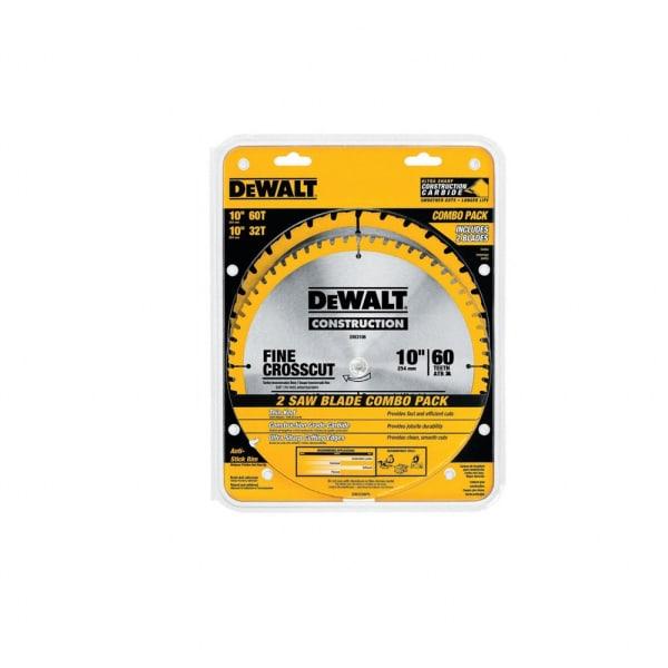 "DEWALT 10"" Saw Blades - 60T/32T Combo Pack"