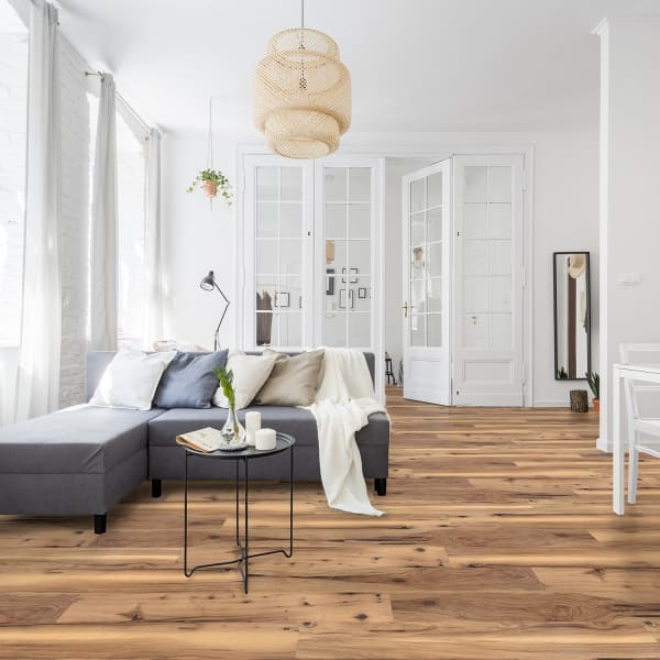 Mojave Hickory Luxury Vinyl Plank Flooring in Living Room and Dining Room