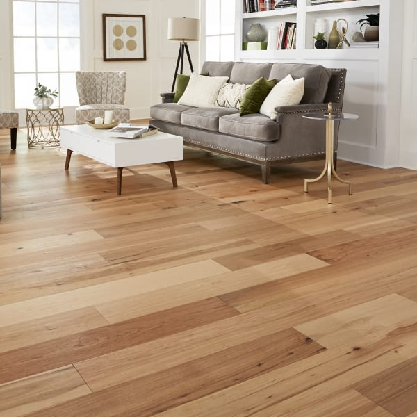 Rustic Hickory Engineered Hardwood Flooring in Living Room