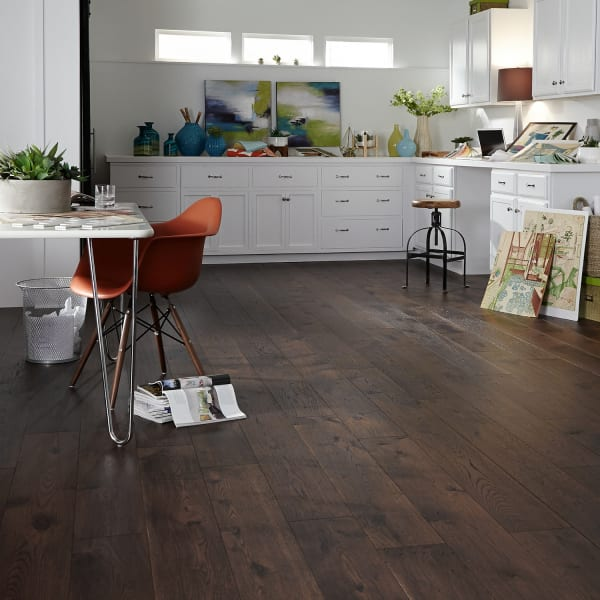 Porter House Hickory Engineered Hardwood Flooring in Living Room, Office, and Kitchen