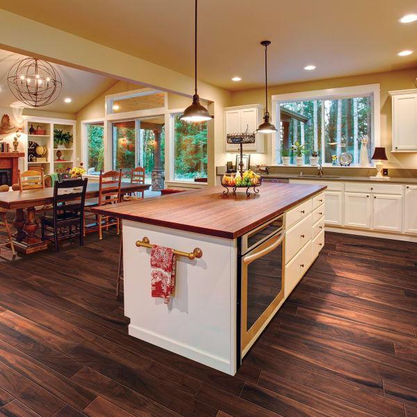 Elegant Wood American Walnut Porcelain Tile in Kitchen, Living Room, and Dining Room