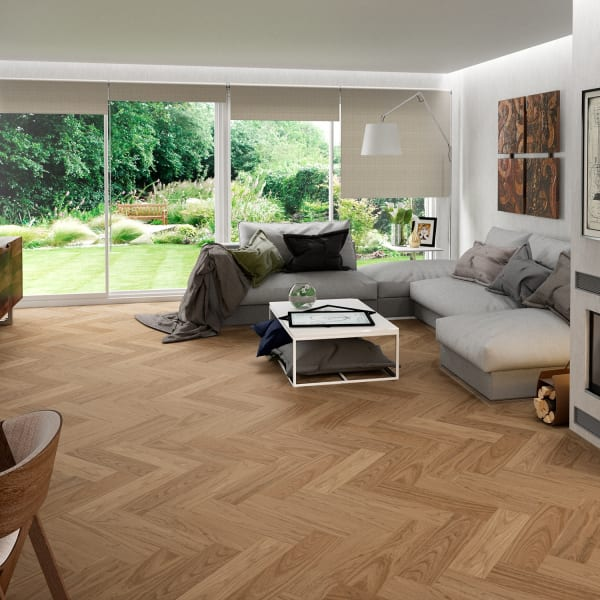 24 in. x 6 in. Classic Red Oak Porcelain Tile in Contemporary Traditional Living Room