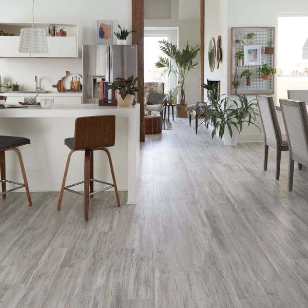 Grizzly Bay Oak Luxury Vinyl Plank Flooring in Kitchen and Dining Room