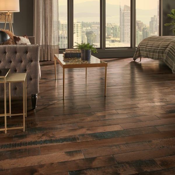 .75 in. x 5 in. Pioneer Leather Hickory Solid Hardwood Flooring in Rustic Bedroom