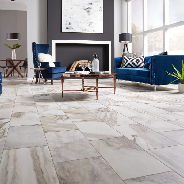 Costa Bella Marble Porcelain Tile in Living Room