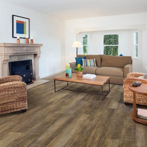 Rail Tie Oak Luxury Vinyl Plank Flooring in Living Room