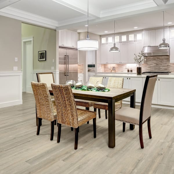 Dewy Meadow Vinyl Flooring in Kitchen and Dining Room Table