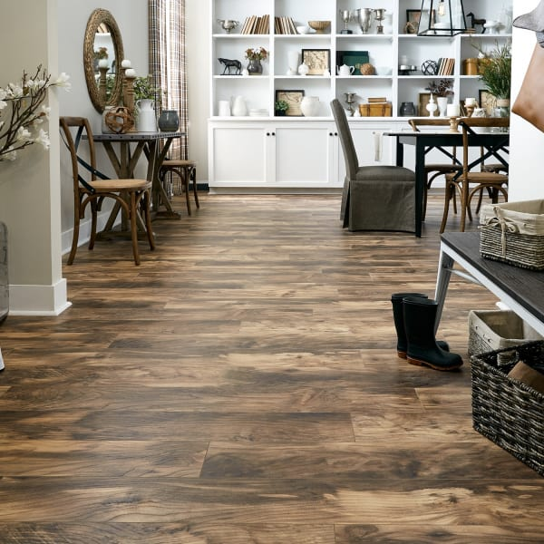 Natural Hackberry Laminate Flooring in Entryway and Dining Room