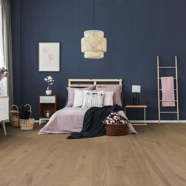 Monaco White Oak Engineered Hardwood Flooring in Bedroom