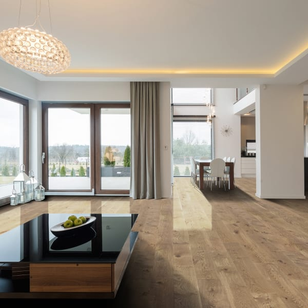 Madrid White Oak Engineered Hardwood Flooring in Living Room and Dining Room