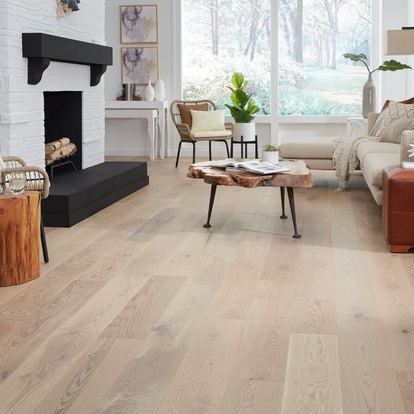 Vienna White Oak Wirebrushed Engineered Hardwood in Living Room