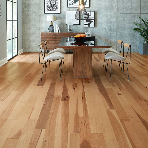 Matte Hickory Natural Engineered Hardwood Flooring in Rustic Dining Room