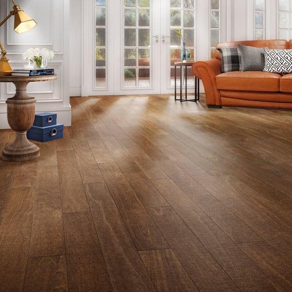 Sepia Spanish Hickory Engineered Hardwood Flooring in Living Room