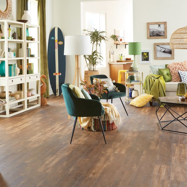 Copper Ridge Oak Click Luxury Vinyl Plank Flooring in Living Room