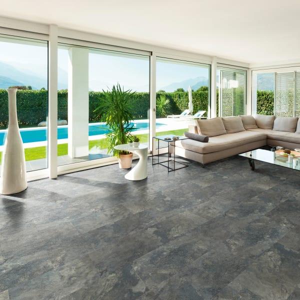 Burgess Gray Brick Laminate Flooring in Living Room