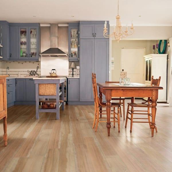 Golden Hour Blonde Engineered Vinyl Plank Flooring in Kitchen and Dining Room