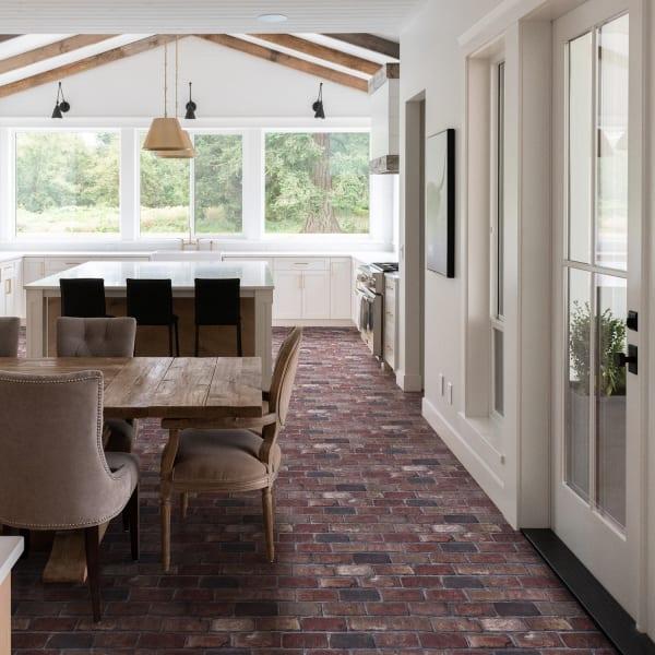 4mm Salem Cellar Brick Engineered Vinyl Plank Flooring in Industrial Dining Room