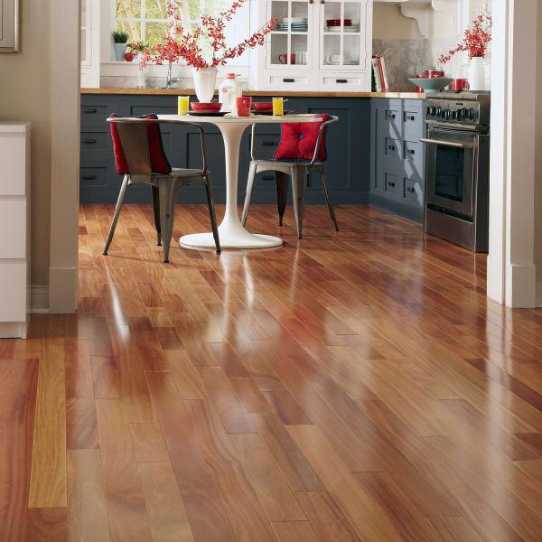 Red Cumaru Solid Hardwood Flooring in Living Room in Kitchen